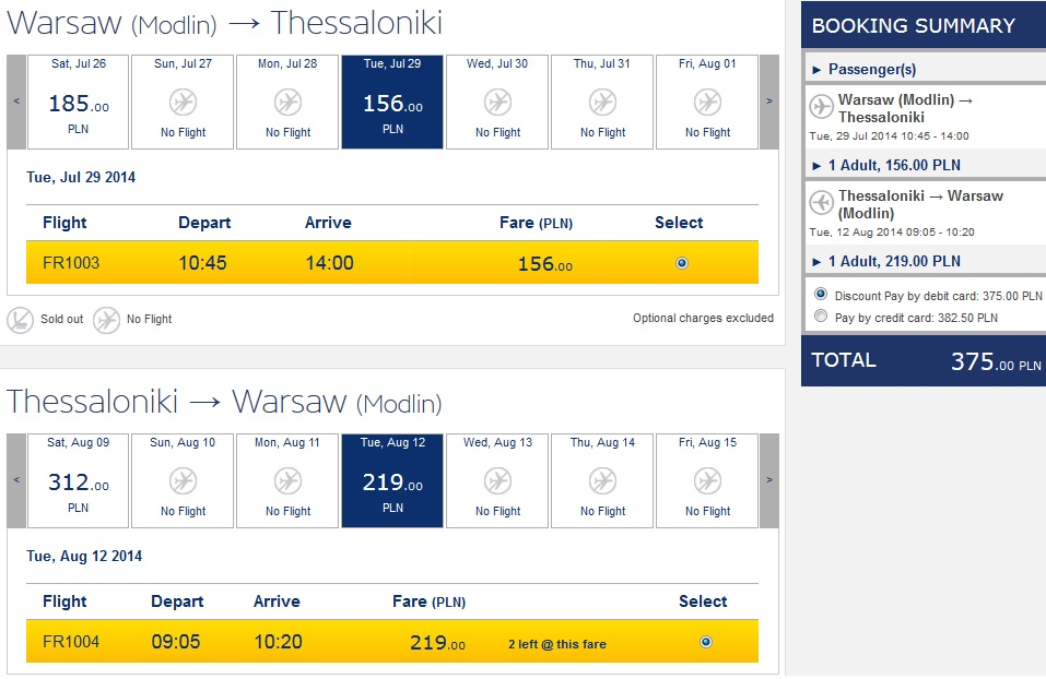 Fly In Summer From Warsaw To Thessaloniki