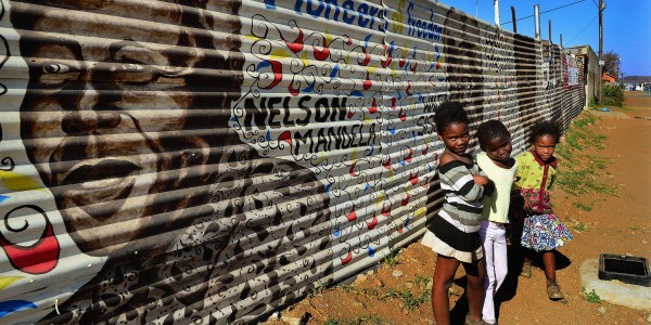 Children walked near mural Nelson Mandela Johannesburg South e