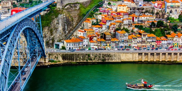 ancient city porto metallic dom luis bridge e