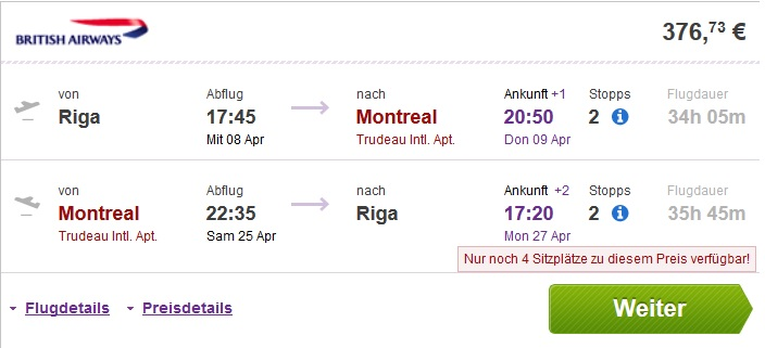 riga to montreal