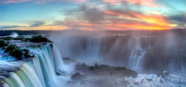 iguazu falls sunset e