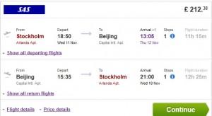 flights from stockholm to beijing