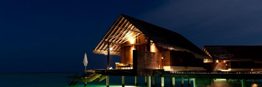maldives night bungalow