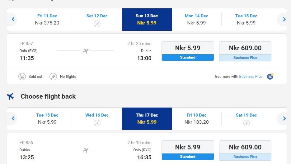 flights from dublin to oslo