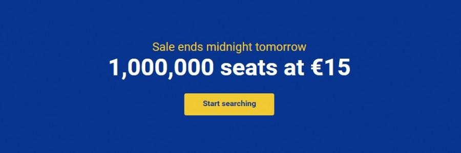 Ryanair Big Sale 1 000 000 Tickets For 15 Travelfree Info