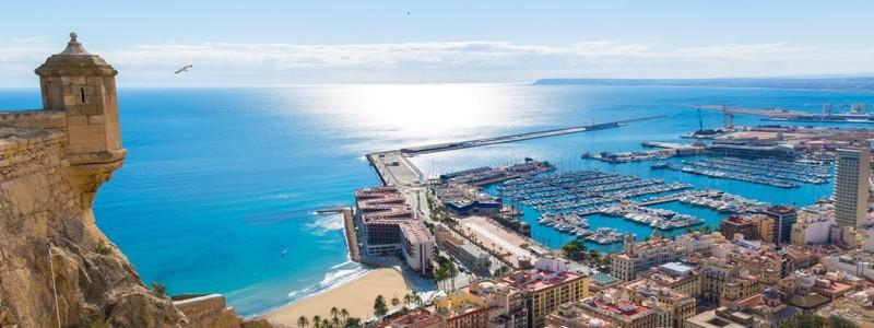 Alicante skyline aerial from Santa Barbara Castle Spain