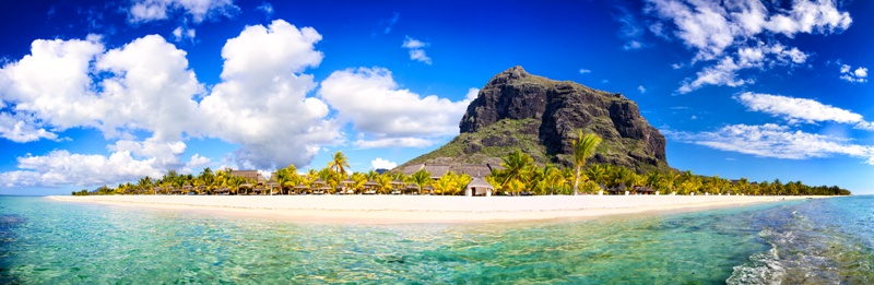 White sand beach and Le Morne Brabant mountain, Mauritius