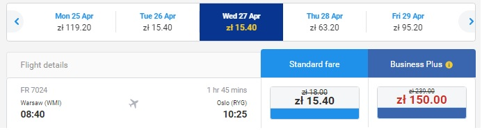 warsaw to oslo