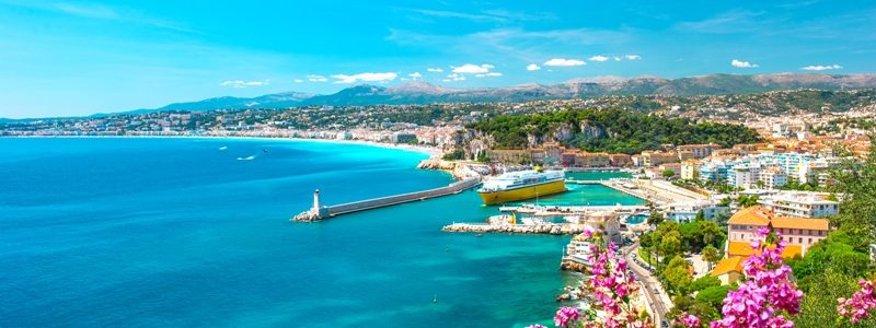 Nice city, french riviera, France. Turquoise mediterranean sea and perfect blue sky