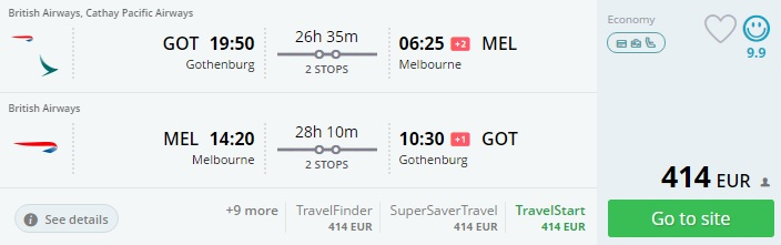 gothenburg to melbourne