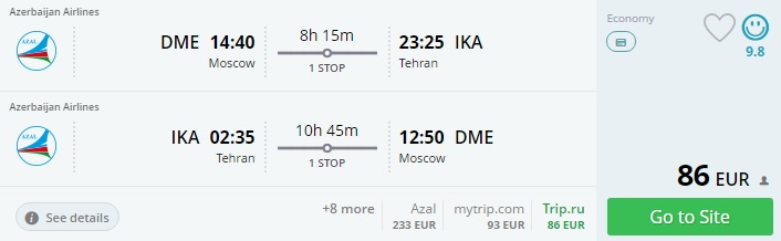 moscow to tehran