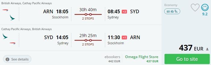 stockholm to australia