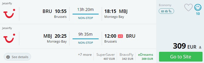 brussels to jamaica