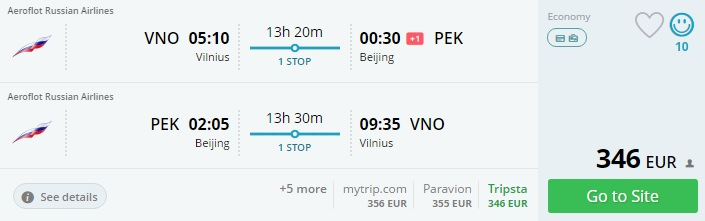 vilnius to china north korea