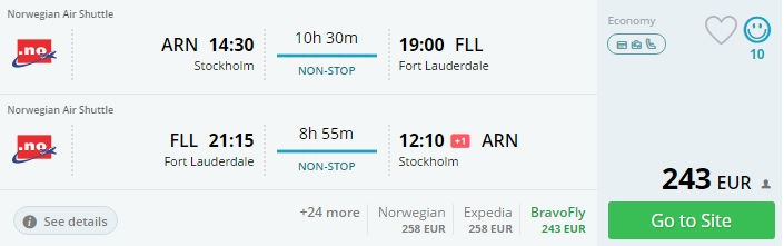 cheap flights to florida from stockholm