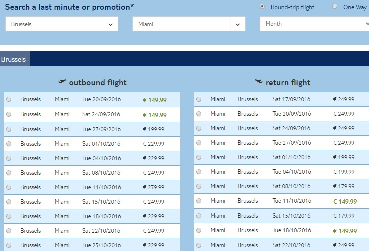 cheap tickets from brussels to miami