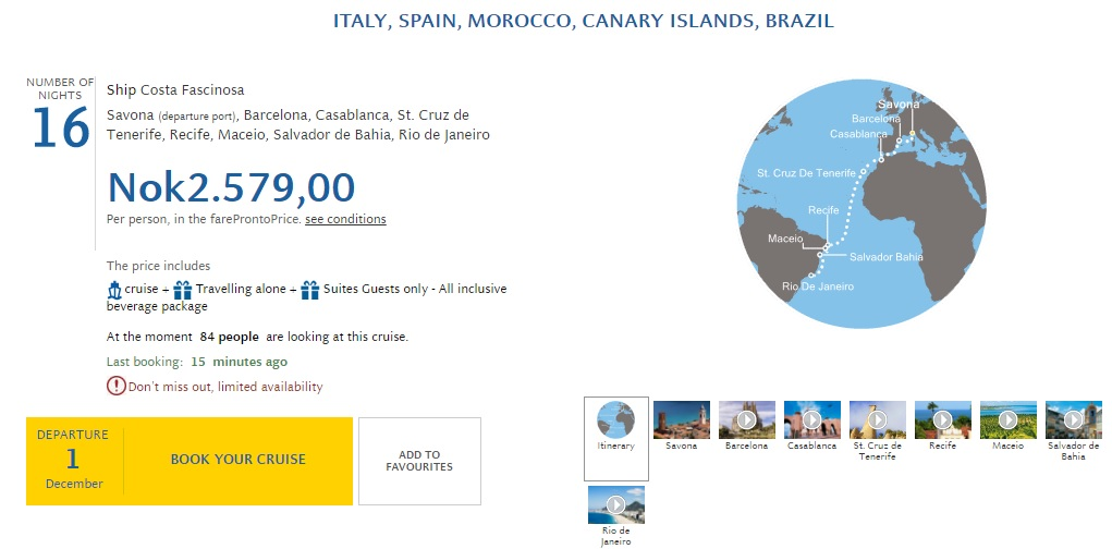cruise from italy to brazil