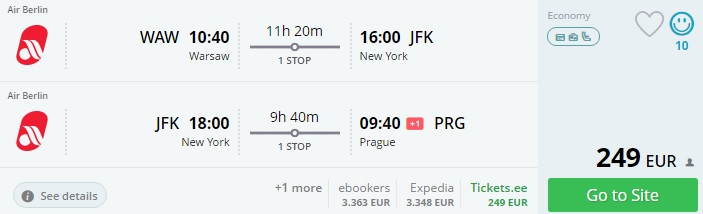 flights from warsaw to new york