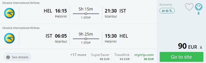 helsinki to istanbul flight