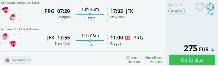 prague to new york