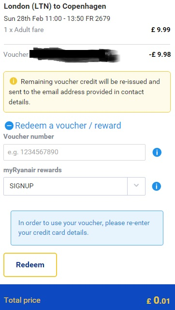 Underneath the flight details, you will see Redeem a voucher / reward: click on the link to pull down the menu. Paste the Ryanair promo code and click Redeem. The page will refresh automatically and the amount will be deducted from your total price. Enjoy your holiday.