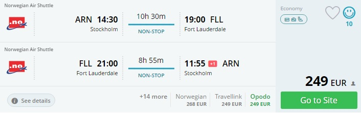 cheap tickets from stockholm to miami