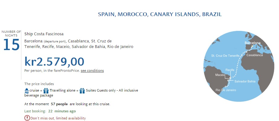 cruise from spain to brazil