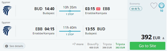 budapest to uganda