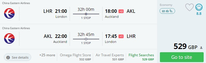 flights to new zealand from london
