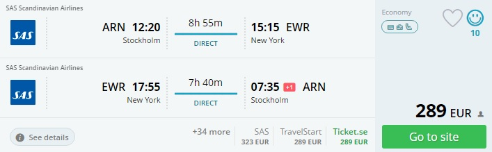 direct flights to new york from stockholm