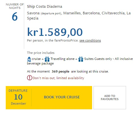 costa cruise deal