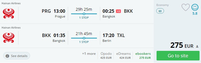 flights from europe to thailand