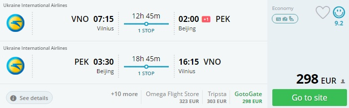 flights from lithuania to china