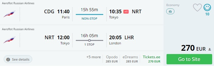 flights from paris to japan