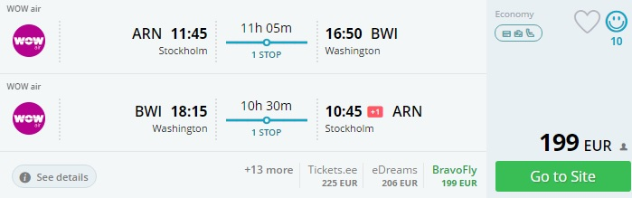 flights from stockholm to washington
