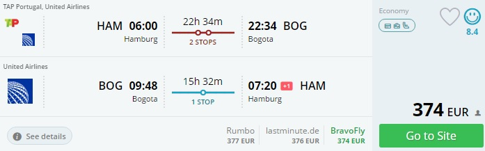 flights to colombia from germany