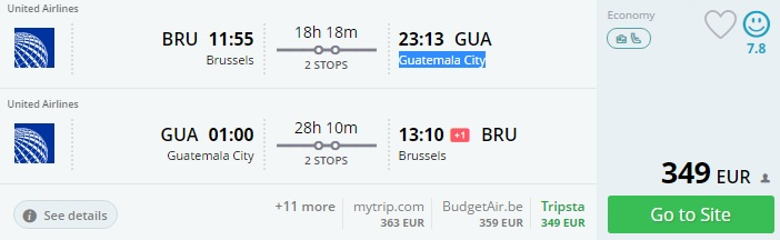 flights from brussels to guatemala