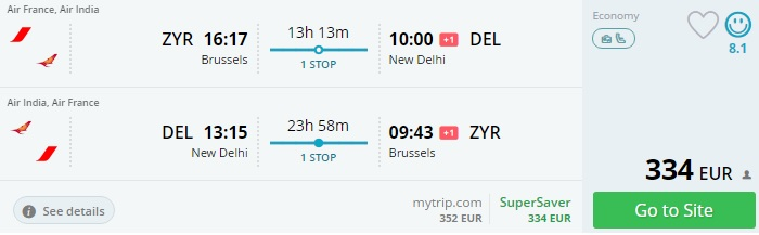 flights from brussels to india