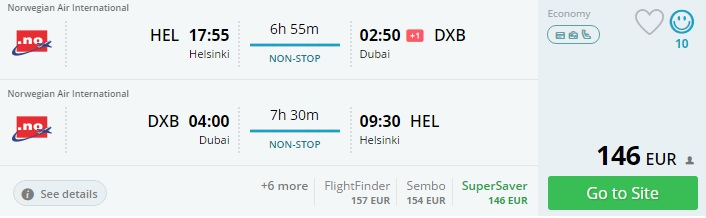 flights from helsinki to dubai norwegian