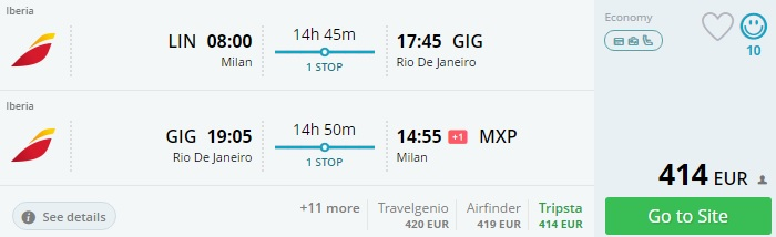 flights from italy to brazil