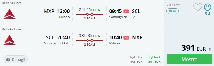 flights from milan to chile