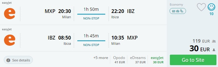 flights from milan to ibiza