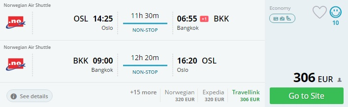 flights from oslo to bangkok