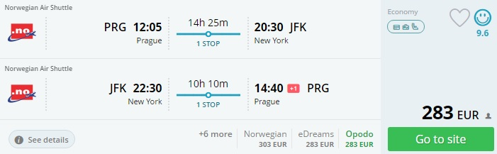 flights from prague to new york