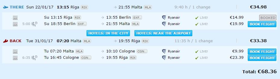 flights from riga to malta
