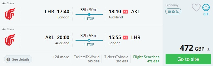 flights from the uk to auckland