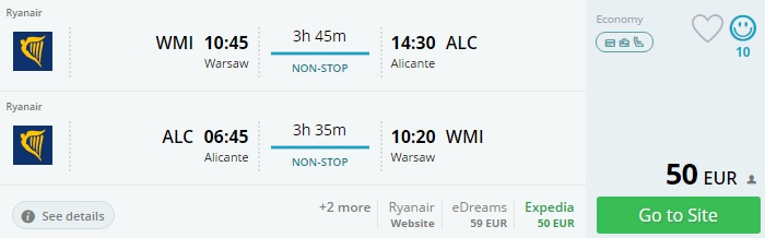 flights from warsaw to alicante