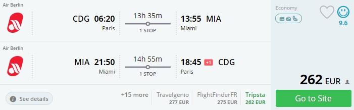 flights to miami from paris
