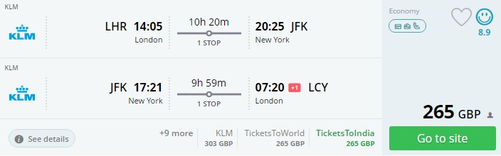 flights from london to new york us