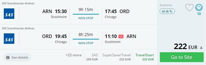 sas flights to usa